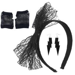 1 Set 80s Neon Lace Fingerless Fishnet Earrings Headband Cos