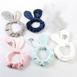 1Pc Cute Rabbit Ears Letter Soft Hair Band Women's Mask Make