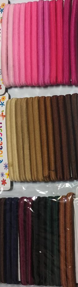 36 Large Elastic Hair Ties Assorted No Metal 3 different set
