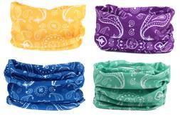 4pc Paisley Headband Hair Band Headwrap Face Mask Bandana Ne