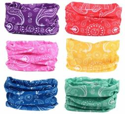 6pc Paisley Headband Hair Band Headwrap Face Mask Bandana Ne