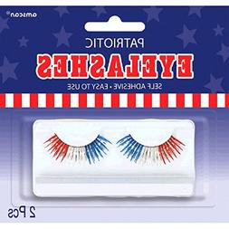 "Amscan Eyelashes Fake Lashes, 1/2"" x 1"", Blue/Red/White"