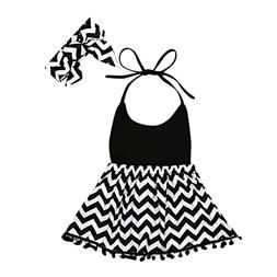 DORIC 2PCS Toddler Baby Girls Sleeveless Striped Dress + Hai