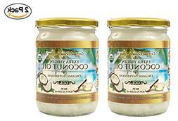 Organic Coconut Oil, Extra Virgin Unrefined Cold-Pressed, 2
