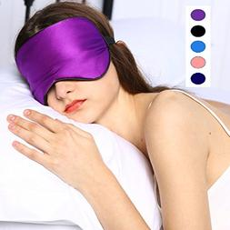 Silk Sleep Mask & Blindfold, Soft Eye Mask with Adjustable H