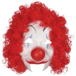 ADULT MENS CIRCUS CLOWN COSTUME LATEX HALF FACE MASK WITH RE