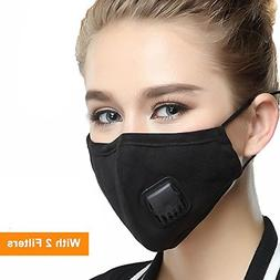 Black Masks PM 2.5 Anti Pollution Mask With Valve Pynogeez