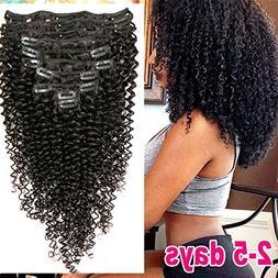 Brazilian Virgin Hair Kinkys Curly Clip in Hair Extensions 3