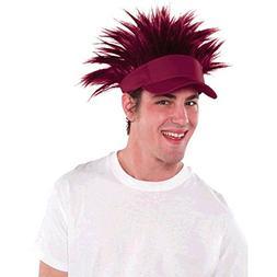 Amscan Burgundy Spiked Visor Hat Funny Headwear, Burgundy, 1
