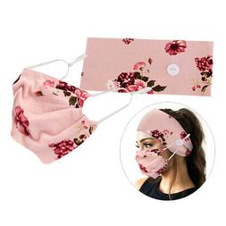 Button Headbands with Facemask - Stretchy Hair Band with Mas