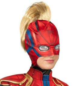 Captain Marvel Mask with Hair Mohawk Ponytail Adult Womens A