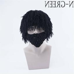 Christmas Gift Winter Warm Wool Knitted Hat Mask With Wig Ha