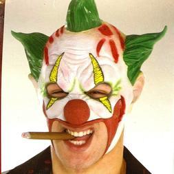 clown mask green hair joker open mouth