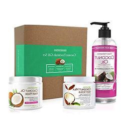 Coconut Spa Gift Set for Bath & Body, Moisturizing Hair Mask