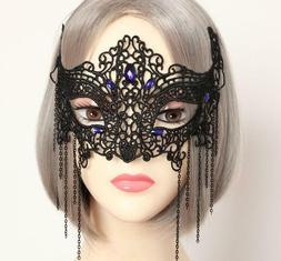 Cosplay Women's Gothic Lace Mask Masquerade Halloween Hair A