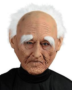 Creepy Old Man Mask With Hair Adult Men'S Costume Accessory