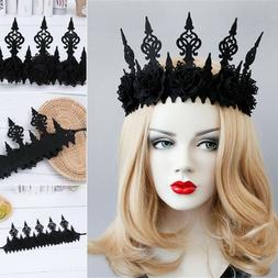 fashion gothic crown halloween headband black wreath