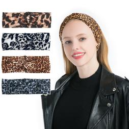 Fashion Womens Leopard Twisted Hair Band Wash Face Make Mask