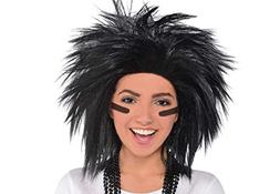 Amscan Game Ready Team Spirit Party Crazy Wig Accessory, Bla