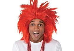 Amscan Game Ready Team Spirit Party Crazy Wig Accessory, Red