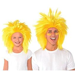 Amscan Game Ready Team Spirit Party Crazy Wig Accessory, Yel