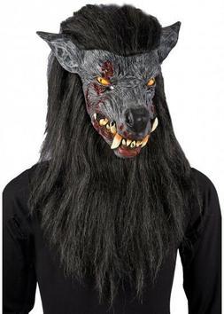 Grey Werewolf Mask WITH BLACK HAIR Halloween Fancy Dress Zom