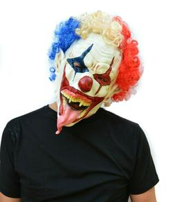 Halloween Clown Mask with Hair Costume Mask Scary Tongue DEV