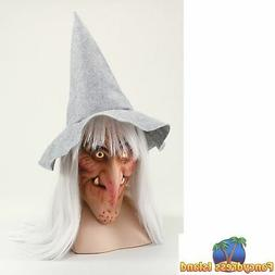 HALLOWEEN WITCH MASK WITH HAT & HAIR - womens ladies fancy d