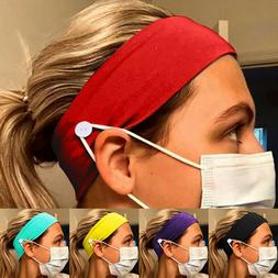 Headband With Buttons For Masks Usage Sports Yoga Gym Hair B