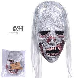 YUFENG Latex Horror Creepy White Hair Mask,Scary Halloween P