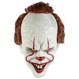 IT Pennywise Latex Full Mask w/Hair Horror Clown Joker Cospl