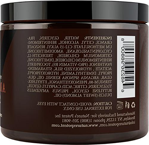 Argan Hair Mask, 100% ORGANIC Almond Oils Therapy, Repair Damaged, Color Treated & Bleached Hair - Stimulates Hair Growth, 8 Oz