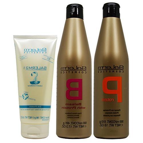 Salerm Protein Shampoo 18oz + Protein Balsam Conditioner 17.