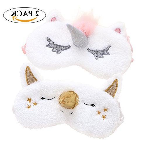 Sleep Mask 2 Pack Cute Unicorn Horn Soft Plush Blindfold Eye