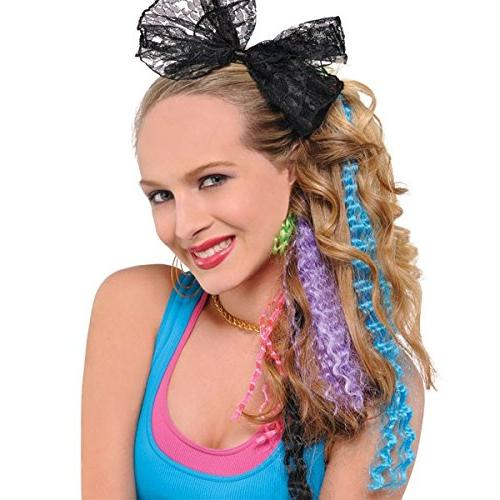 amscan awesome 80s party assorted color crimped hair extensi