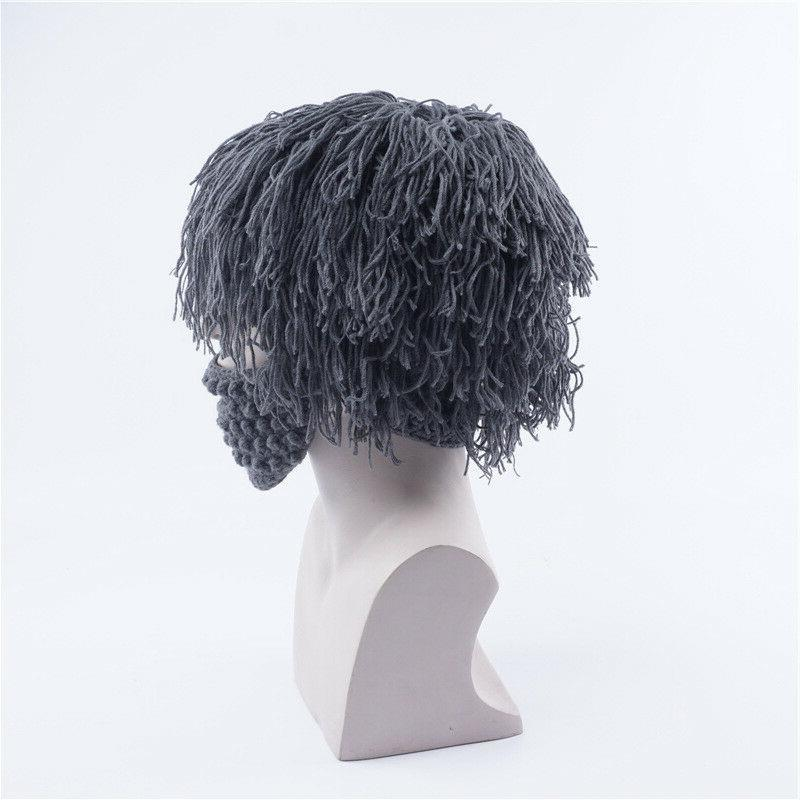 Wool Knitted Mask With Wig Outdoor