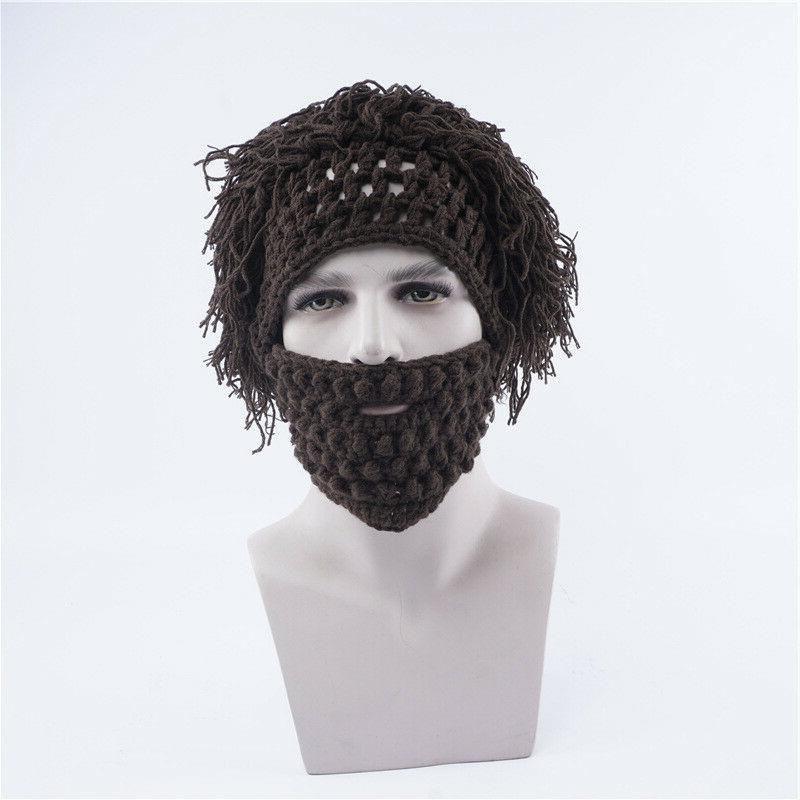 Christmas Wool Knitted Mask With Wig Outdoor