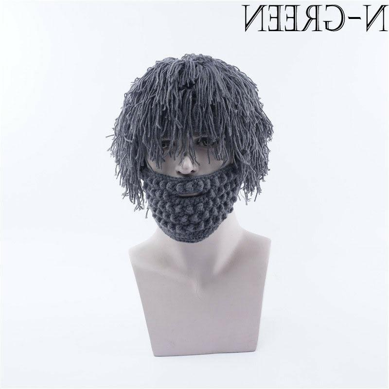 Christmas Gift Winter Wool Knitted With Wig Thermal Outdoor