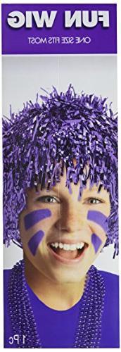 """Amscan Fun Tinsel Wig Funny Costume Headwear Foil 10"""" x 3"""" C"""