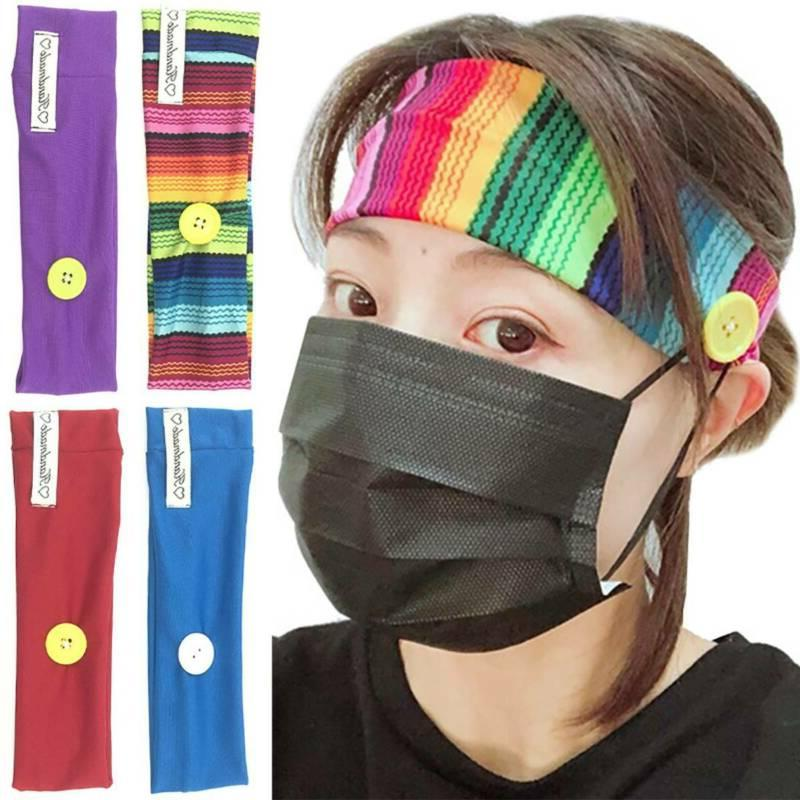 headbands with buttons holder for face mask