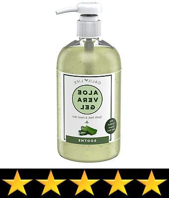 Calily Organic 99% Aloe Vera Skin, Apply Face, Hands & Body, 16.9 Fl Oz. – Moisturizing, Soothing, Antibacterial Dry Acne, Eczema, Rashes, etc.