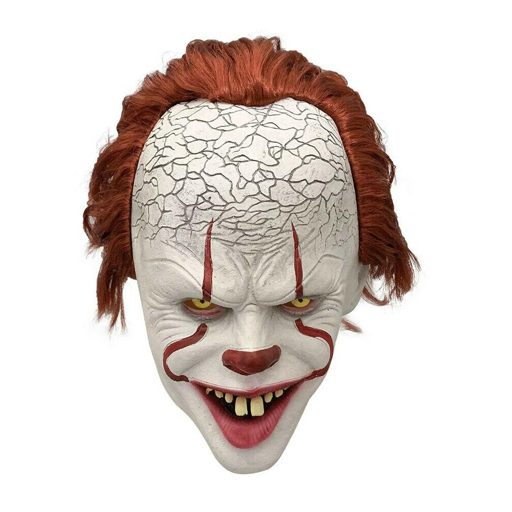 pennywise latex full mask w hair horror