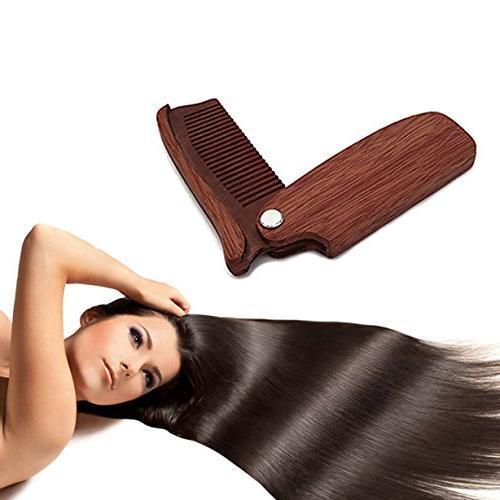 1 Set Combs Hairbrush Wooden Folding Beard Comb