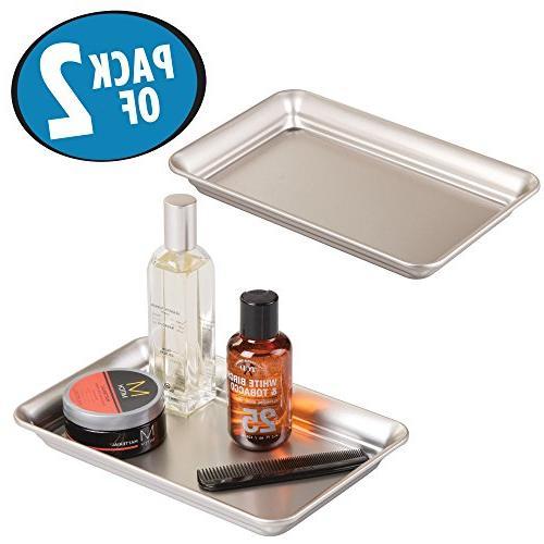 Mdesign Metal Storage Organizer Tray For Bathroom Vanity