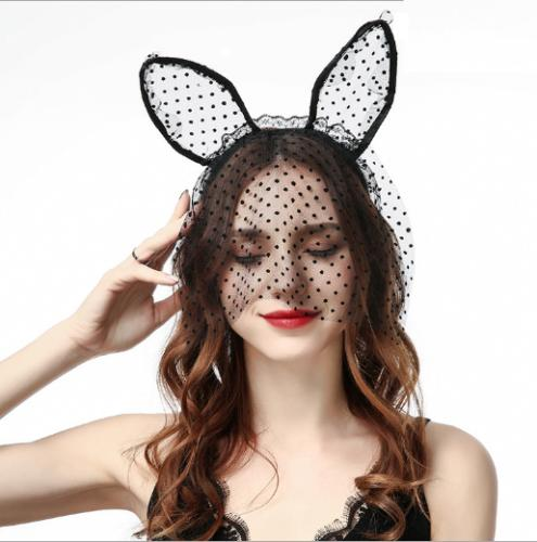 veil mask rabbit ear party headband hair