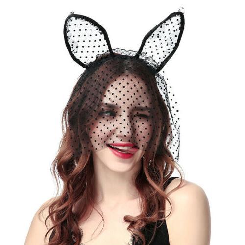 Women Sexy Lace Mask Rabbit Ear Hairband Headband Hair