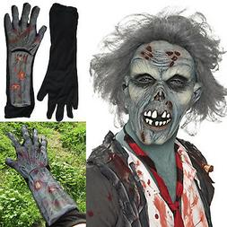 Men's Decaying Zombie Mask with Hair plus Hand & Arm Gloves