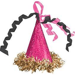Amscan Mini Cone Hat Hair Clip | Birthday | Black/Pink/Gold