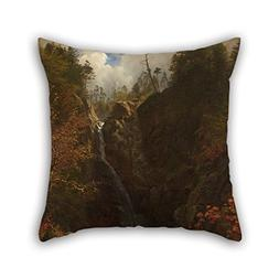 Oil Painting Albert Bierstadt - Glen Ellis Falls Pillow Sham