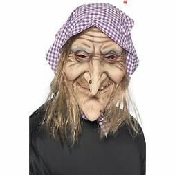 Old Witch Mask Hair and Headscarf Halloween Scary Men's Fanc